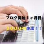 ブログ開始1ヶ月目で「3000PV達成!」知識ゼロからのスタート